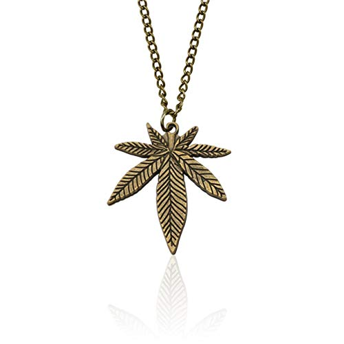 JOQSI Hip Hop Tree Leaf Necklace for Women Men Small Weed Herb Maple Leaf Pendants Necklaces Unisex Plant Jewelry Collar Bronze Necklace ()