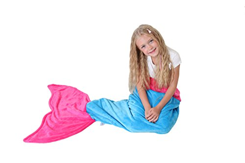[Cuddly Blankets Polar Fleece Fabric Mermaid Tail Blanket for Kids (Ages 3-12), Ocean Blue and Hot] (Costumes Ideas For 4)