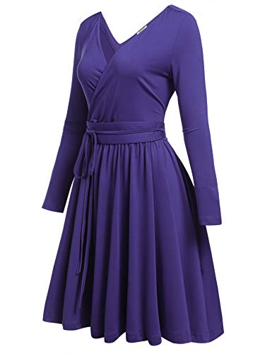 Pleated Purple Long Sexy Women Casual V Dresses A Sleeve Belt Flare Deep ACEVOG Dress Neck Fit Line with dTHwF11