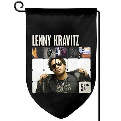 Sunmoonet Garden Flag Lenny Kravitz Fashionable Hip Pop Music Band Home Yard Holiday Flags Double Sided Decorative House Decor Flag (Monograms Mini Hip)