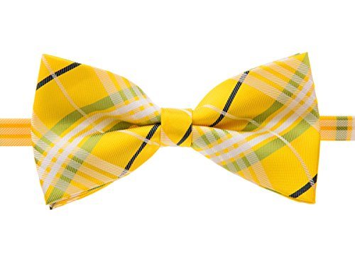 Retreez Stylish Tartan Plaid Check Woven Microfiber Pre-tied Bow Tie (5