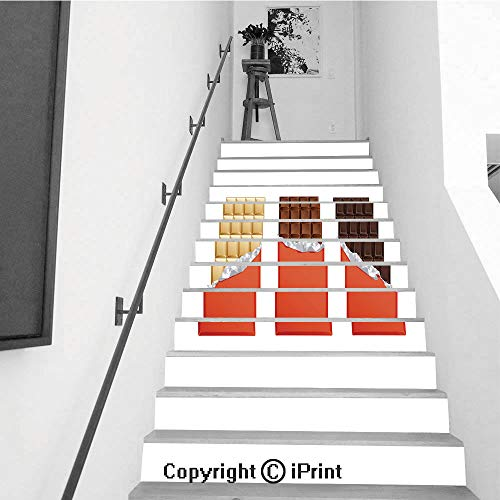 (Stair Stickers Wall Stickers,13 PCS Self-Adhesive,Stair Riser Decal for Living Room, Hall, Kids Room,Dark and Milk Candy Chocolate Bars in Vintage bar Wrappers)