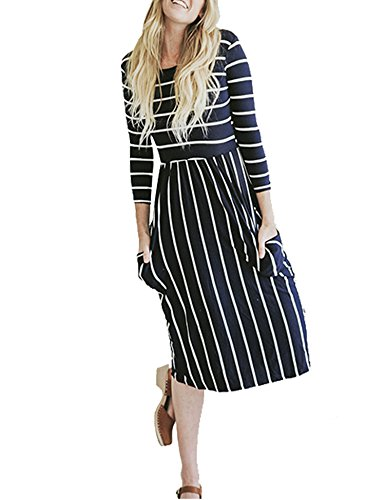 Halife Womens Scoop Neck Striped Pleated Beach Dress with Pockets Dark Blue,M (Striped Scoop Neck Pocket Dress)