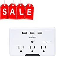 JF.EGWO Power Protector USB Wall Outlet with 3 USB Ports 3 AC Outlets Wall Mount for Home Kitchen, White and Grey