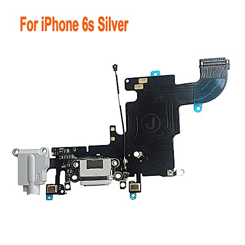Johncase Charging Port Dock Connector Flex Cable w/Microphone + Headphone Audio Jack Port Ribbon Replacement Part Compatible iPhone 6s 4.7 All Carriers (Light Gray)