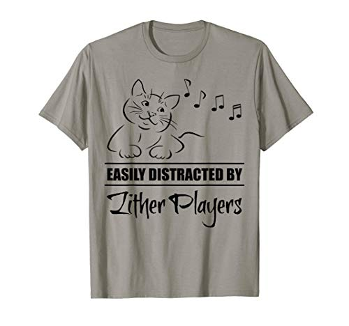 Curious Cat Easily Distracted by Zither Players Whimsical T-Shirt