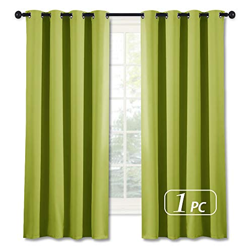 NICETOWN Blackout Curtain Window Panel Drape - (Green Color) Thermal Insulated Window Covering Room Darkening Grommet Top Drapery for Christmas Living Room, 52Wx63L, 1 Piece (Green Lime Drapery Panels)