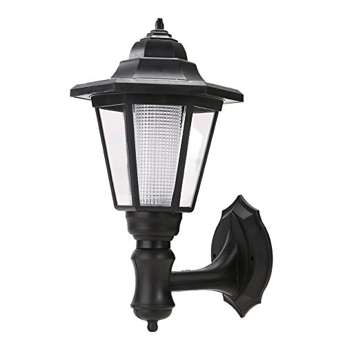 Whitelotous Waterproof Solar Powered LED Garden Lamp Outdoor Path Way Landscape Garden Fence Wall Lamp (Warm white)