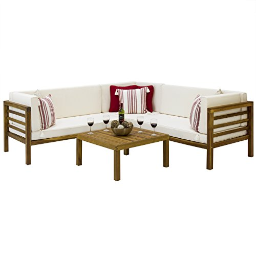 Best Choice Products Outdoor Patio Furniture 4-Piece Acacia Wood Sectional Sofa Set Water Resistant Cushions- Brown