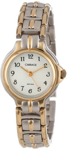 2 Tone White Dial (Carriage Women's C3C353 Two-Tone Round Case White Dial Two-Tone Stainless Steel Jewelry Bracelet Watch)