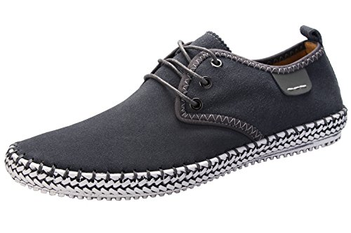 Anlamb Mens Suede Leather Moccasins Casual Walking Shoes Loafters,AL8803 Grey 9.5/EU43