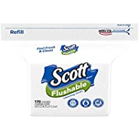 Scott Flushable Wipes, Fragrance-Free, Refill bag with 170 Wipes Total