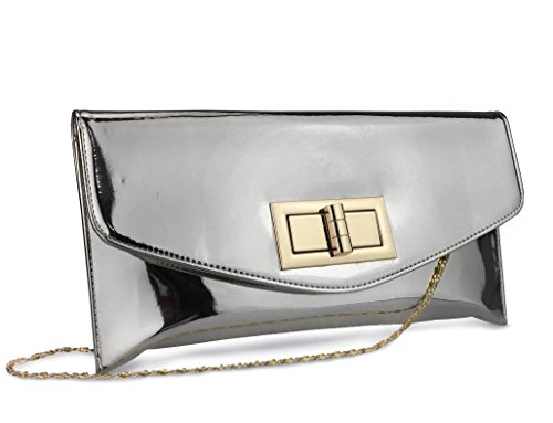 Hoxis Charms Envelope Patent Faux Leather Turn Lock Clutch Womens Evening Handbag With Chain Strap (Silver)