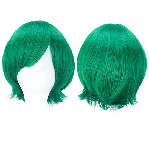 Halloween Hair Synthetic Wigs Short Straight Hair 10 Colors Red Green Brown Purple Cosplay Wig Girls Ombre Costume Party Peruca,#12,12Inches ()