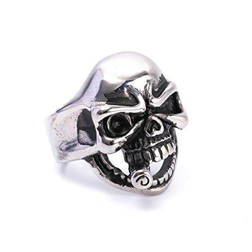 Men's 316L Stainless Steel Skull Smoke Ring Silver Gothic Vintage Biker Size 9