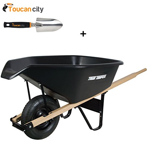 True Temper Wheelbarrows - Toucan City 3 in. Softouch Hand Trowel and True Temper 6 cu. ft. EZ Pour Poly Wheelbarrow CP6PS