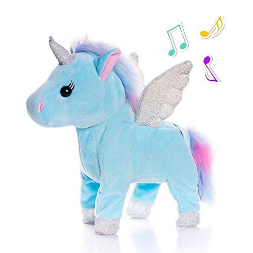 SLONG La muñeca eléctrica del Unicornio Que Canta y Que Camina el Regalo de los niños del Juguete de la Felpa Que Brilla...