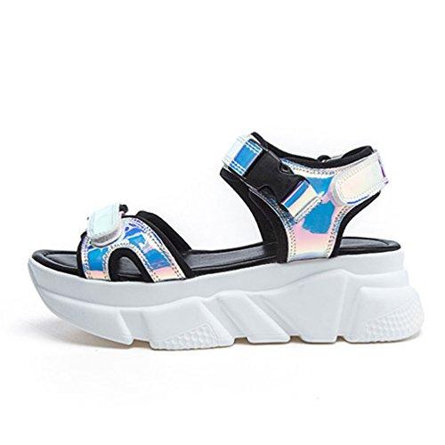 Femmes Toe Ouvertes Multicolore de Mode Plage Chaussures Plateformes Sandales Sandale Clip OdqBB