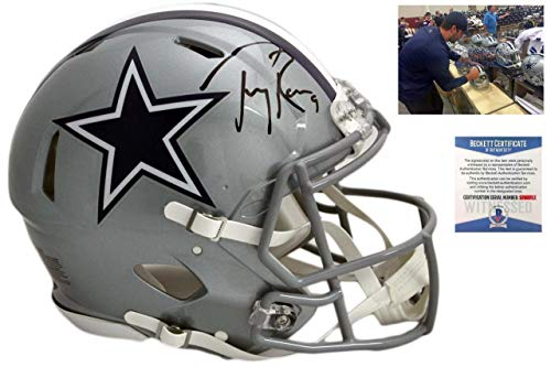 (Tony Romo Autographed Helmet - Authentic Speed Beckett - Beckett Authentication - Autographed NFL Helmets)