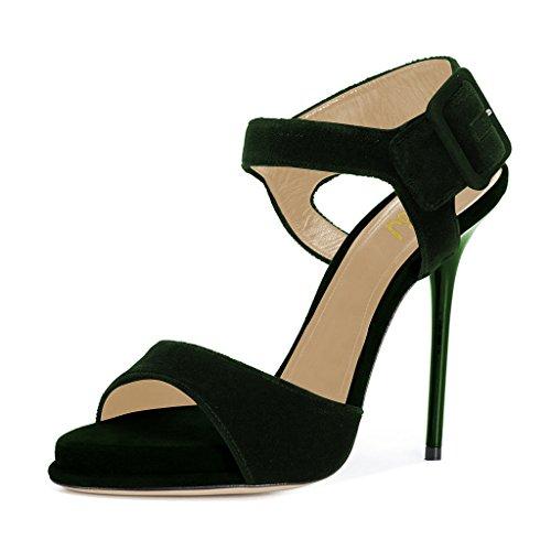 FSJ Women Summer Open Toe Ankle Strap Sandals Platform Stilettos High Heels Dress Shoes Size 4-15 US Olive m6MwtkO9Ou