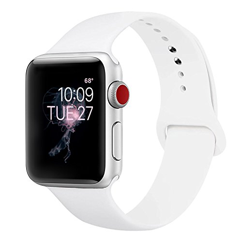 Price comparison product image ENANYN Compatible Apple Watch Band 38mm Soft Silicone Sport Wrist Strap iWatch Replacement Bracelet Wristbands for Apple Watch Series 3,2,1 of Size S/M,White