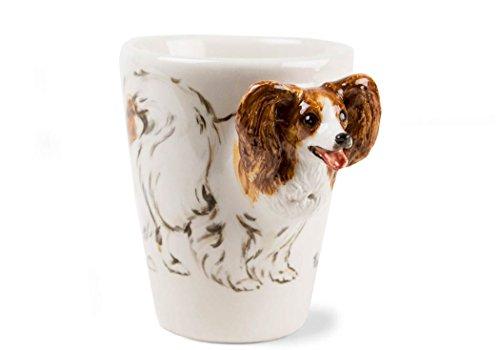 Papillon 8oz Brown And White Handmade Coffee Mug (10cm x 8cm)