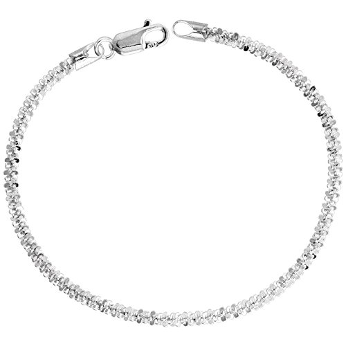 Sterling Silver Sparkle Rock Chain Bracelet 2.9mm Diamond cut Nickel Free Italy, 8 inch
