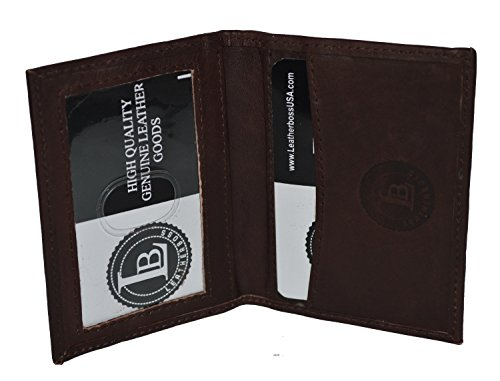 Slim Thin Leather Credit Card Id Mini Wallet Holder Bifold Driver's License Safe (Dark Brown) Bi Fold Business Card