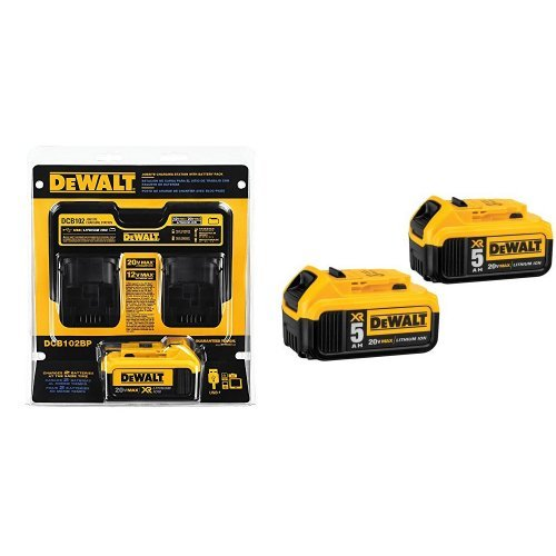 DEWALT DCB102BP 20-volt MAX Jobsite Charging Station with Battery Pack and 20V MAX XR 5.0Ah Lithium Ion Battery, 2-Pack