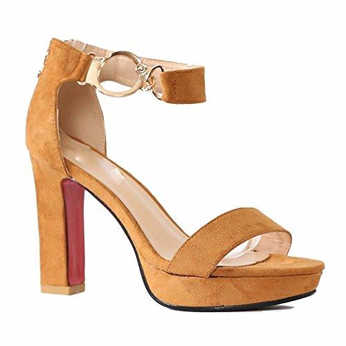 KHSKX-British Style Schuhe Mit Grob Die Schnalle Sandalen Studenten Passen Hochhackige Schuhe In Rom 37 yellow