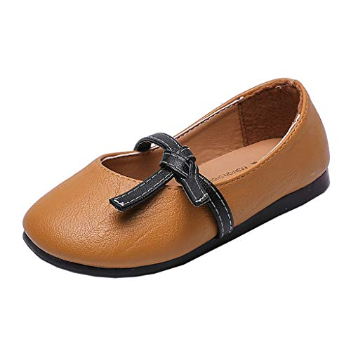 (Randolly Baby Shoes  Kids Girl Fashion Princess Bowknot Dance Nubuck Leather Casual Single Shoes Brown)