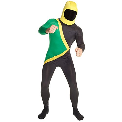Morphsuits Men's Jamaican Fancy Dress Costume-Size 165 to 180cm, Black/Green/Yellow, Standard Size -