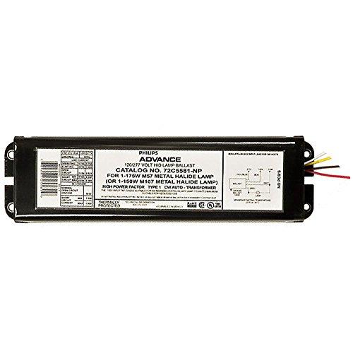 Advance 72C5581-NP MH Ballast HID Lamp, HPF, 175W M57, 150W M107, 120/277V (Ballast Probe Magnetic Start)