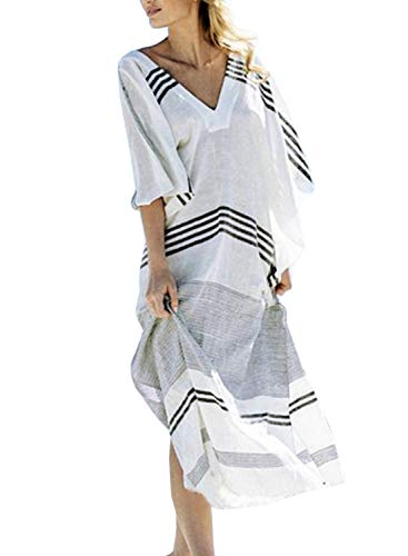 Chunoy Women's Casual V Neck Loose Caftan Long Dress Short Sleeve Split Maxi Dresses ()