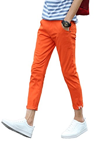 (Plaid&Plain Men's Slim Fit Stretch Casual Orange Pants Cropped Chinos Flood Pants Orange 38)