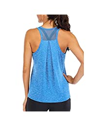 U Shape Neck Mesh Backless Tank Top Loose and Comfortable Sleeveless Solid Color Top Sports Running Vest,F,XL