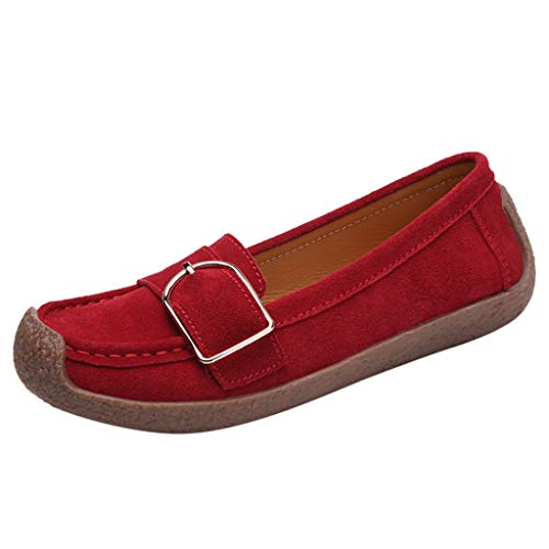 Suede Goth Boots Shoes - Toimothcn Women's Casual Loafers Slip On Comfort Driving Boat Flat Boat Shoes Sneakers (Red1,US:6)