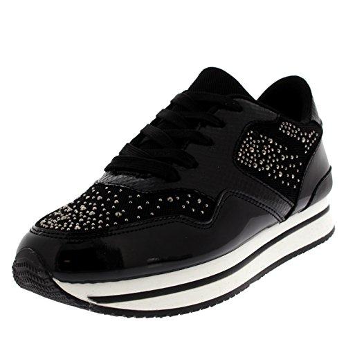 Vrouwen Diamante Festival Lichtgewicht Pumps Comfortabele Mode Sneakers Zwart / Wit
