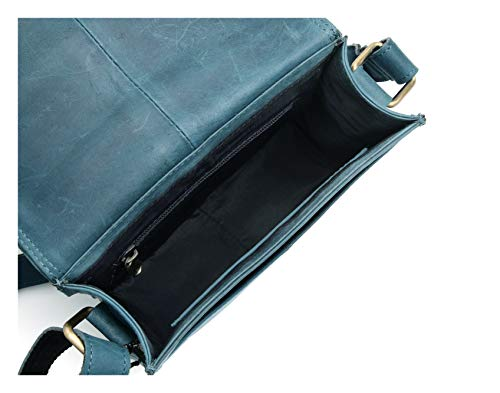 Flapover Real Leather Pure Tablet Mens Distressed Everyday 100 Messenger Bag Work Vintage Handmade Crossover Genuine Leather Blue Hunter Shoulder XnRzzwx6