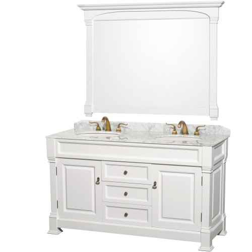 Wyndham Collection Andover 60 inch Double Bathroom Vanity in White with White Carrera Marble Top with White Undermount Sinks (Carved Double Sink Vanity)