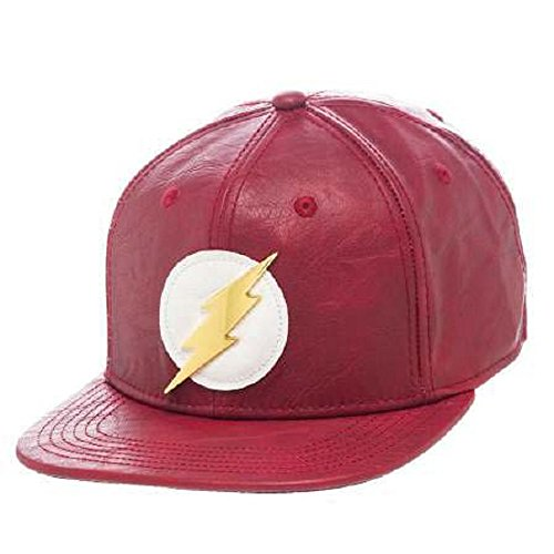 Bioworld Official- DC Comics Flash- Faux Leather Snapback Hat , Red , 8 Mens Flash