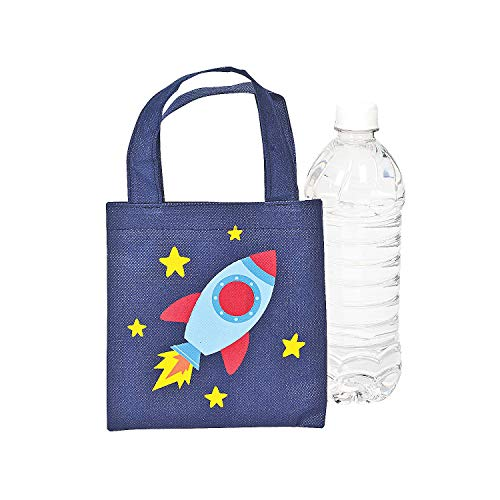 Fun Express Mini Space Ship Tote Bags for Summer - Apparel Accessories - Totes - Novelty Totes - Summer - 12 Pieces -