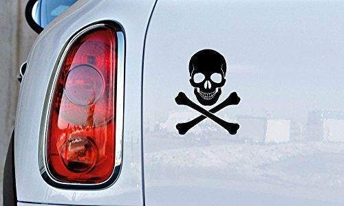 Skull Crossbone Version 1 Car Vinyl Sticker Decal Bumper Sticker for Auto Cars Trucks Walls Windows and More (BLACK) -