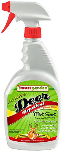 - I Must Garden Deer Repellent: Mint Scent Deer Spray for Gardens, Plants, and Trees - 32oz Easy Spray Bottle
