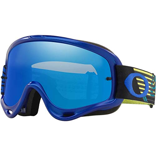 Oakley O Frame MX Adult Off-Road Motorcycle Goggles - Circuit Blue Yellow/Black Ice Iridium &Clear
