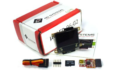 4D SYSTEMS - UOLED-96G2 Starter Kit with USD-4GB Industrial and USB-PA5-II (4gb Kit Two 2gb Modules)