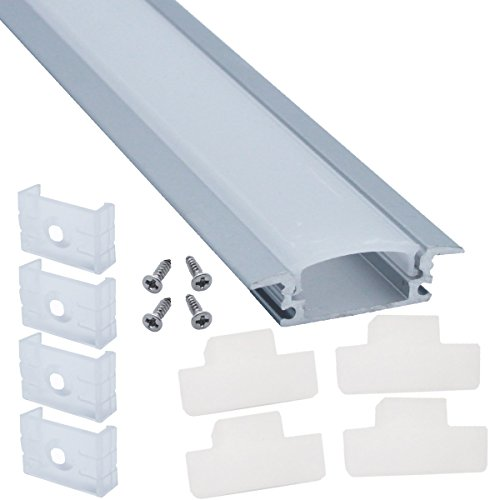 (Litever 10 Pack Recess Aluminum Channels for LED Strips 1 Meter / 3.3 FT- Flush Mounting for Max 12mm Wide Flexible or Rigid LED Strip Frosted Diffused Milky Diffuser with Clamps End Caps-LL-007-G)