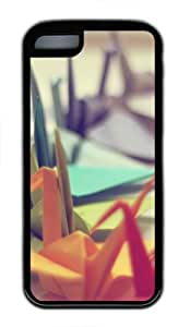 Colorful Origami TPU Case Cover Protector for iPhone 5C Black