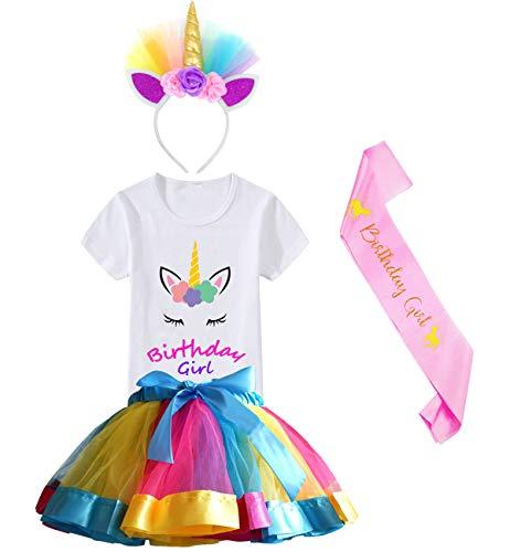 HBeatific Little Girls Layered Tulle Rainbow Tutu Skirt with Unicorn T-Shirt,Headband and Birthday Sash (Birthday-Gold, S,2-3 T)]()