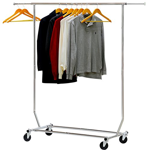 SimpleHouseware Supreme Commercial Grade Clothing Garment Rack, Chrome (Rack Clothing Collapsible)